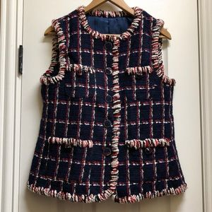 💯 Authentic Chanel Wool Check Vest in Navy/Red